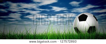 3D illustration uf concept or conceptual soccer ball in fresh green summer or spring field grass with a blue sky background banner