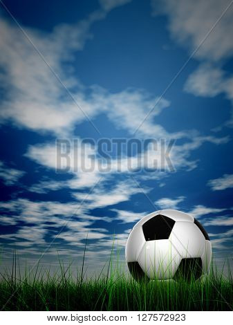 3D illustration concept or conceptual soccer ball in fresh green summer or spring field grass with a blue sky background