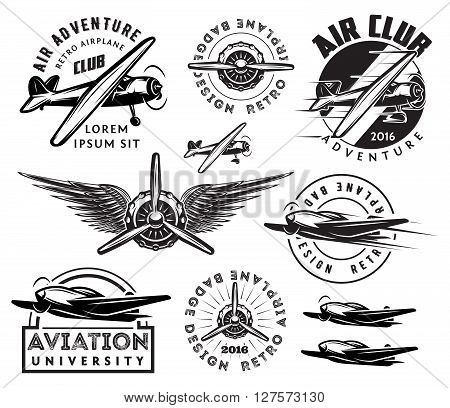retro pattern set of monochrome planes badges design elements