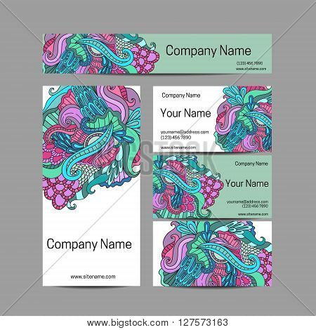 Doodl flower style business card set. Vector background. Card or invitation. Invitation template, save the date. Corporate identity.