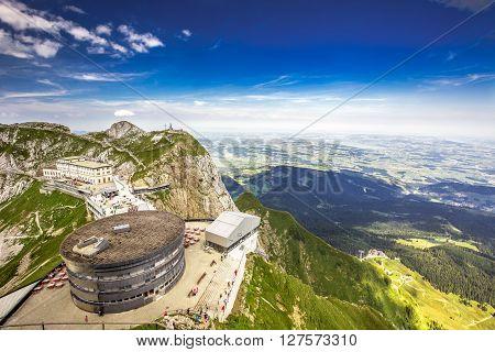 PILATUS - LUZERN SWITZERLAND - AUGUST 6 2015 - Pilatus - world's steepest cogwheel railway and view to Swiss Alps from the top of Pilatus