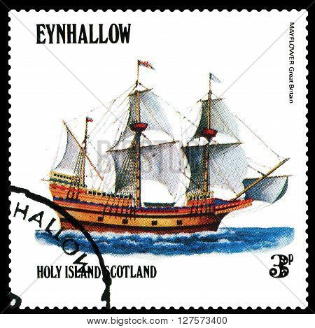 STAVROPOL RUSSIA - APRIL 09 2016: a stamp printed by Scotland shows old Sailing ship Mayflower Great Bitain circa 1984 .