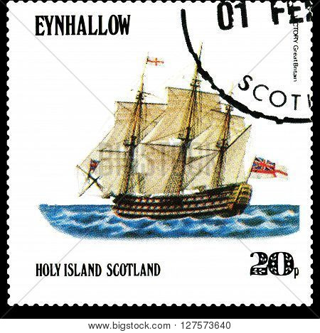 STAVROPOL RUSSIA - APRIL 09 2016: a stamp printed by Scotland shows old Sailing ship Victory Great Britain circa 1984 .