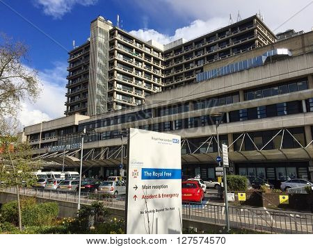 LONDON - APRIL 26: The Royal Free Hospital on April 26, 2016 in Hampstead, London, UK.