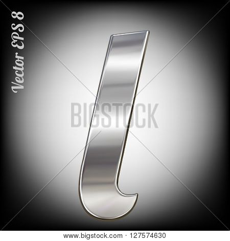 Vector letter l from metal alphabet. Lovercase metal font collection. EPS 8