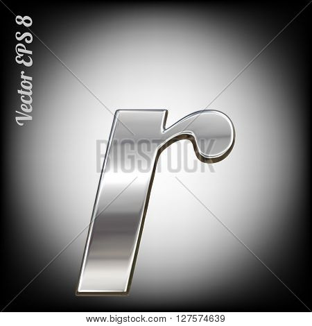 Vector letter r from metal alphabet. Lovercase metal font collection. EPS 8