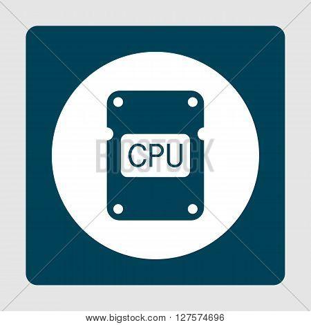 Cpu Icon In Vector Format. Premium Quality Cpu Symbol. Web Graphic Cpu Sign On Blue Background.