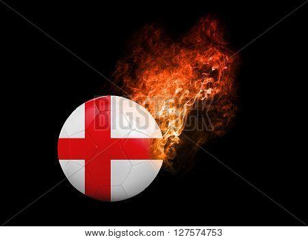 Flaming Football Ball on black background with team flags. Group B England