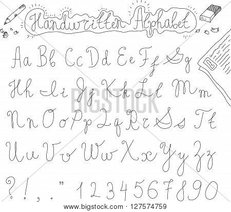Hand drawn sketch alphabet. Letters, numbers, signs and symbols. Entire alphabet. Inline font. Vector font. Isolated on white background
