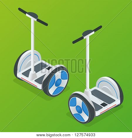 Two-wheeled Self-balancing electric scooter vector isometric illustrations. Intelligent and fashionable personal transportation tool with interactive function.