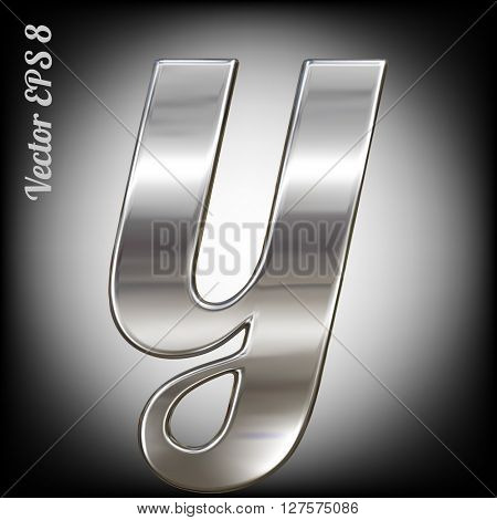 Vector letter y from metal alphabet. Lovercase metal font collection. EPS 8