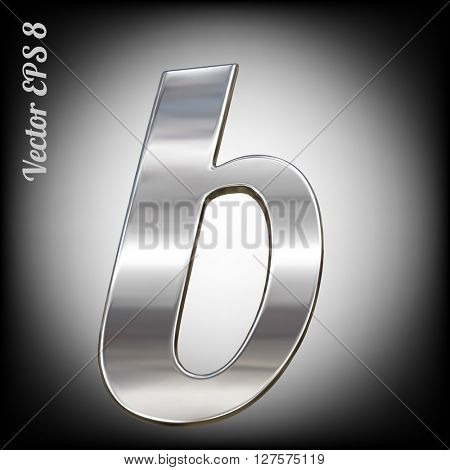 Vector letter b from metal alphabet. Lovercase metal font collection. EPS 8