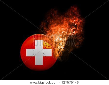 Flaming Football Ball on black background with team flags . Group A Swiss