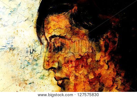 art colorful painting beautiful girl face and crackle background