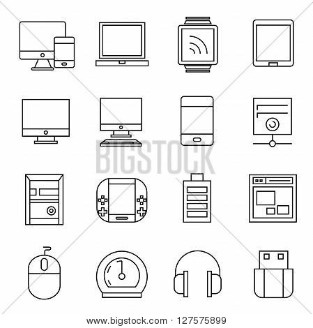 collection of 16 computer and electronic device icons outline theme