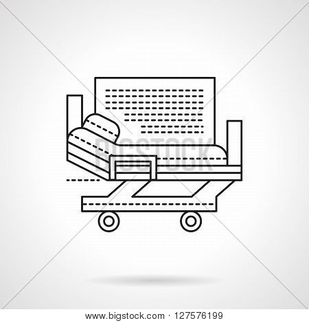 Health care sign. Hospital services. Medical stretcher bed on wheels. Flat line style vector icon. Single design element for website, business.