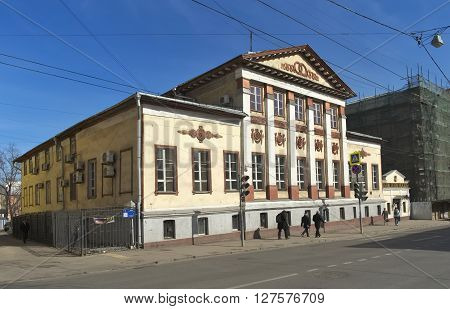 MOSCOW, RUSSIA - MARCH 19, 2015: House Perovsky-Denisiev the beginning of the XIX century (before the fire of 1812 - House Mordvinova) Empire style Novaya Basmannaya Street 27