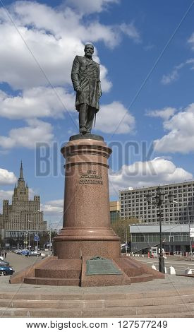 MOSCOW, RUSSIA - APRIL 24, 2016: Monument statesman and reformer of the Russian Empire Pyotr Stolypin established in 2012 at the House of the Russian Government landmark