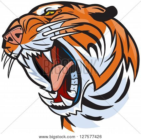 Vector Cartoon Clip Art Illustration of a roaring tiger head