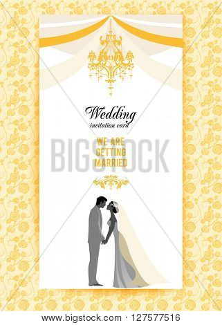 Wedding invitation card. Festive template for design banner, ticket, leaflet, card, poster, invitation  and so on.