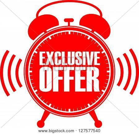 Exclusive Offer Red Alarm Clock, Vector Illustration