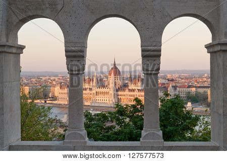 Framed Parliament view from Buda Castle, Budapest, Hungary