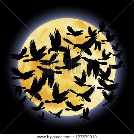 Black crows flying on the background of a full moon night