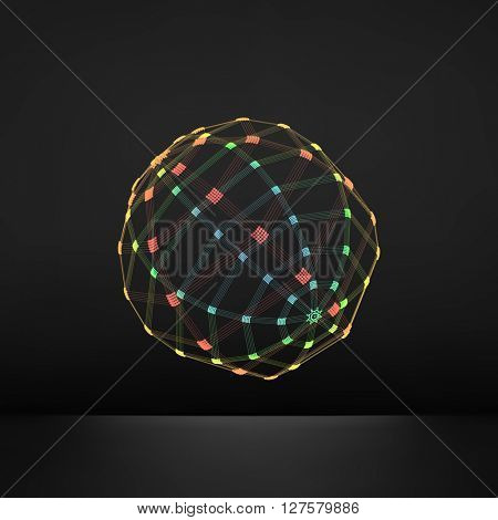 3d Sphere. Global Digital Connections. Technology Concept. Vector Illustration. Wireframe Object with Lines and Dots.