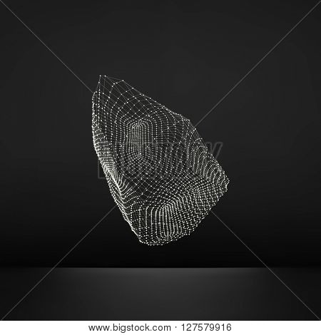 Wireframe Object with Lines and Dots. Abstract 3D Connection Structure. Geometric Shape for Design. Lattice Geometric Element.