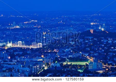Skyline of Budapest with Gellert Hill and Elizabeth Bridge, Budapest, Hungary
