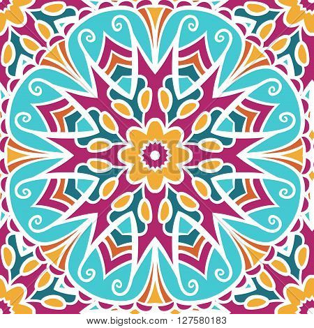 Colorful  hand drawn mandala. Abstract seamless pattern with colored bright floral ornament