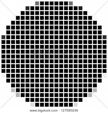 Circle. The Simple Geometric Pattern Of Black Squares With Shadowed Frame. Set Of Dot Patterns. Half