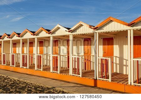 Beach Cabins On A Sunset Moment