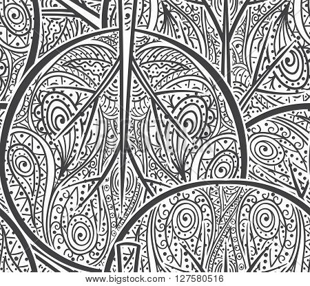 Seamless pattern with hand drawn abstract doodle ornament