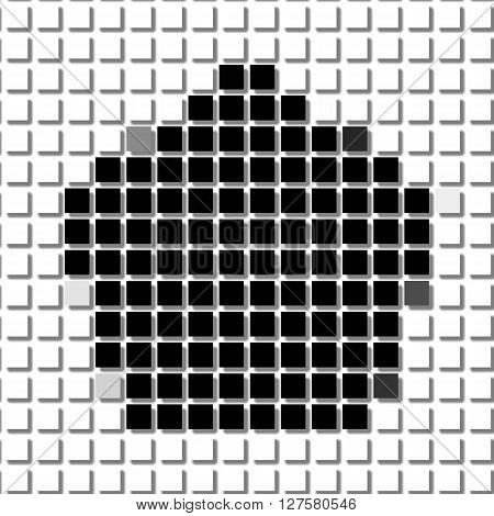 Pentagon, The Simple Geometric Pattern Of Black Squares With Shadowed Frame. Set Of Dot Patterns. Ha