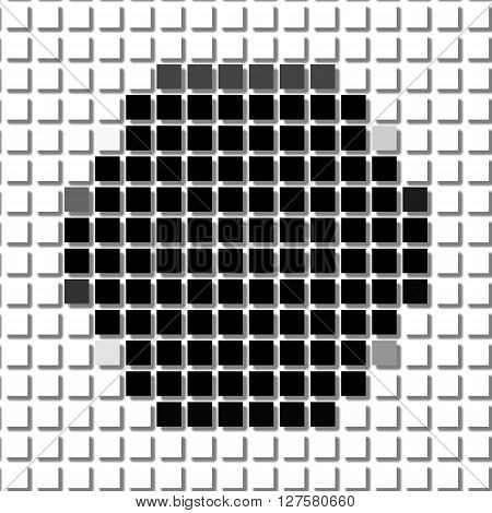 Hexagon.the Simple Geometric Pattern Of Black Squares With Shadowed Frame. Set Of Dot Patterns. Half