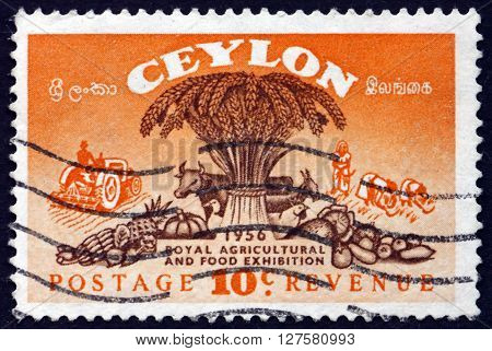 SRI LANKA - CIRCA 1955: a stamp printed in Sri Lanka shows Symbols of Agriculture Royal Agricultural and Food Exhibition circa 1955