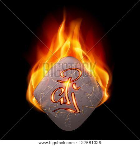 Rhombus stone with magic rune in orange flame