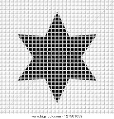 Six Pointed Star, Hexagon. The Simple Geometric Pattern Of Black Squares With Shadowed Frame. Set Of