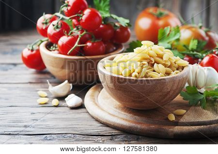 Sardinian Uncooked Pasta On The Wooden Table