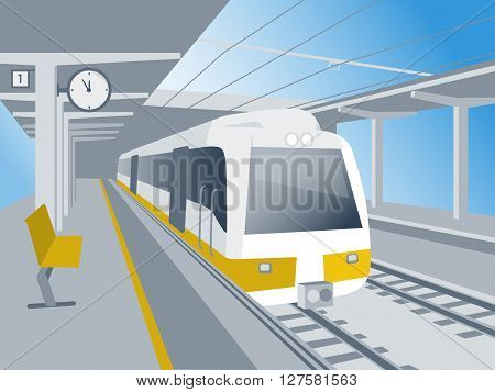 Train stand at the railway station waiting for departure vector illustration