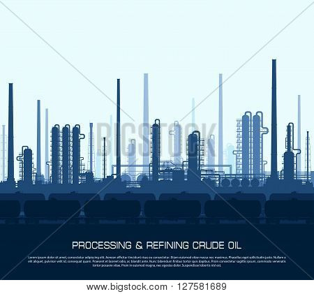 Oil and gas refinery or chemical plant with train tanks. Crude oil pricessing and refining. Heavy industry blue background. Vector illustration.