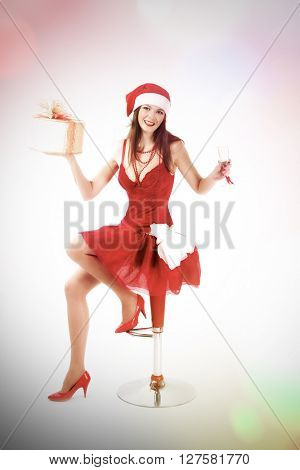 card with beautiful Santa girl. Abstract background