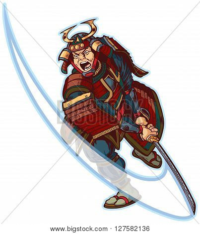 Vector cartoon clip art illustration of an angry or mean looking Samurai slashing with his katana sword.