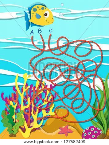 Game template with fish and coral reef illustration