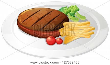 Steak and fries on the plate illustration