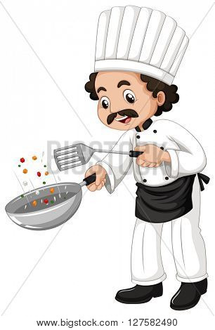 Male chef using frying pan illustration