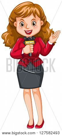 Female reporter with microphone illustration