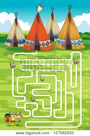 Game template with teepee and indians illustration