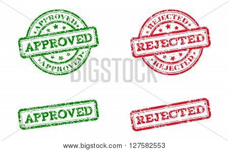 Green approved logo stamp and red rejected logo stamp. grunge style on white background. vector illustration. template for web design. infographics